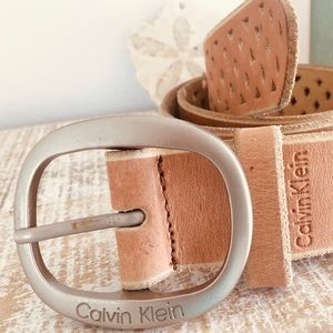 Calvin Klein Classic Vintage Numbered Leather Belt